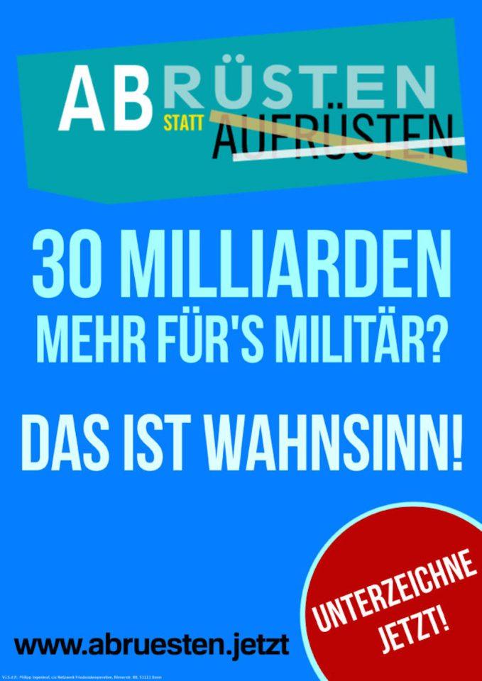 Das Plakat zur Protestaktion am 05. Dezember 2020 Foto: AG Frieden Trier