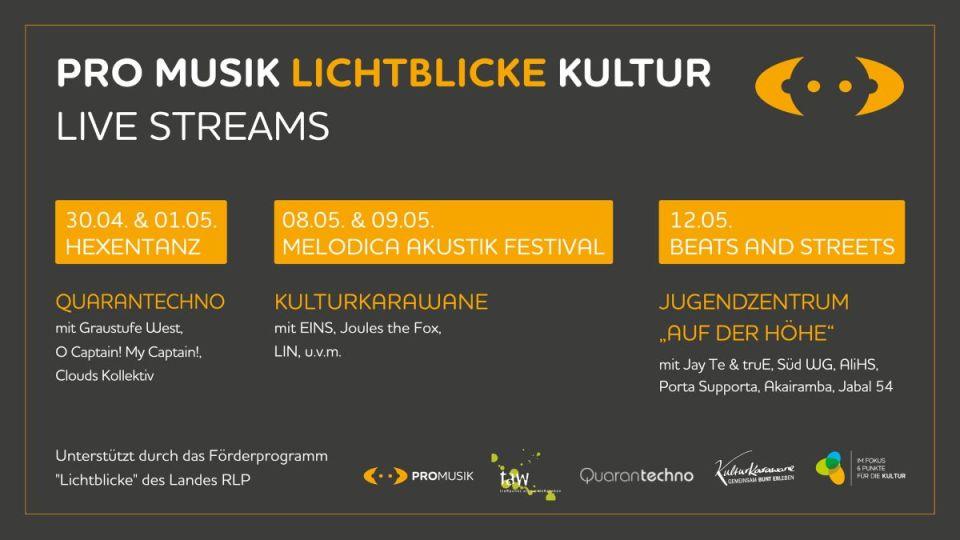 Die drei Veranstaltungen aus der Reihe PRO MUSIK Lichtblicke Kultur. Bildquelle: PRO MUSIK