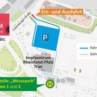 Die Zu- und Abfahrt des Impfzentrums im Messepark verläuft ab dem 22. Juni über die Luxemburger Straße. Bildquelle: Stadt Trier