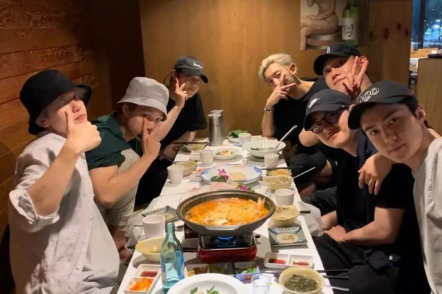 EXO Gets Together For Group Dinner Ahead Of D.O.'s Enlistment