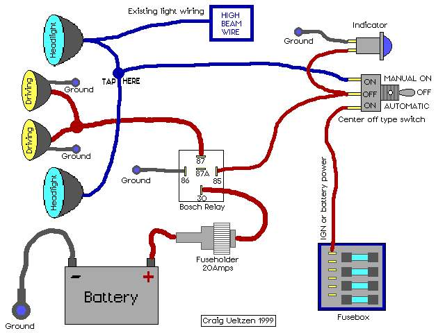 5 pin relay wiring diagram spotlights magnetic starter aux driving lights