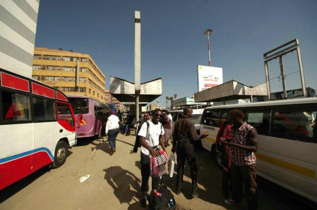 At the bus station in Nairobi before thing as goit seriously spooky