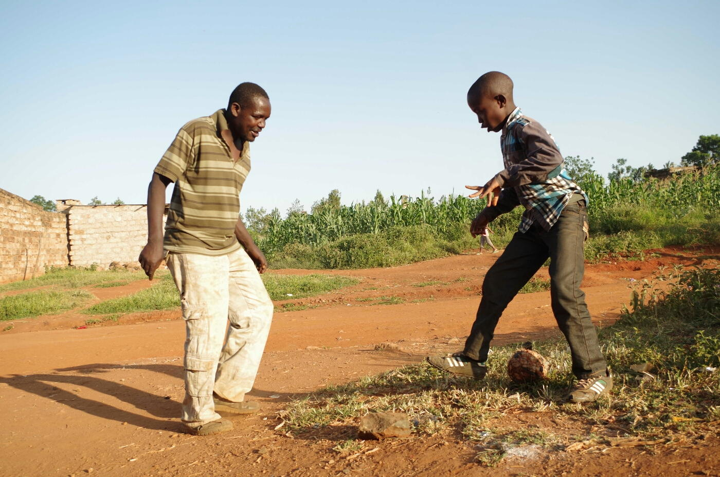 Playing soccer in Donyo
