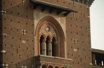 Detail of the facade at Castello Sforzesco in Milan