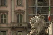 Lion at the base of the momument for Vittorio Emanuele II, one of the leading figures of Italy's risorgimento, the unifying process in the mid 1800s.