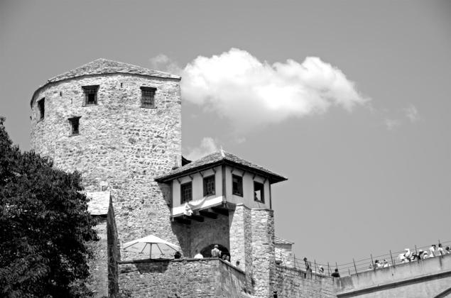 One of the tower fortresses guarding the old bridge in Mostar - Stari Most