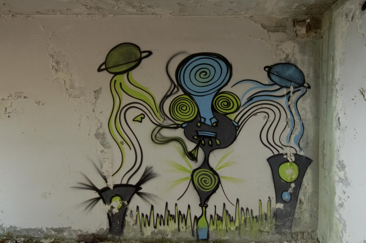 Anamorphic piece of streetart somewhere in Sarajevo