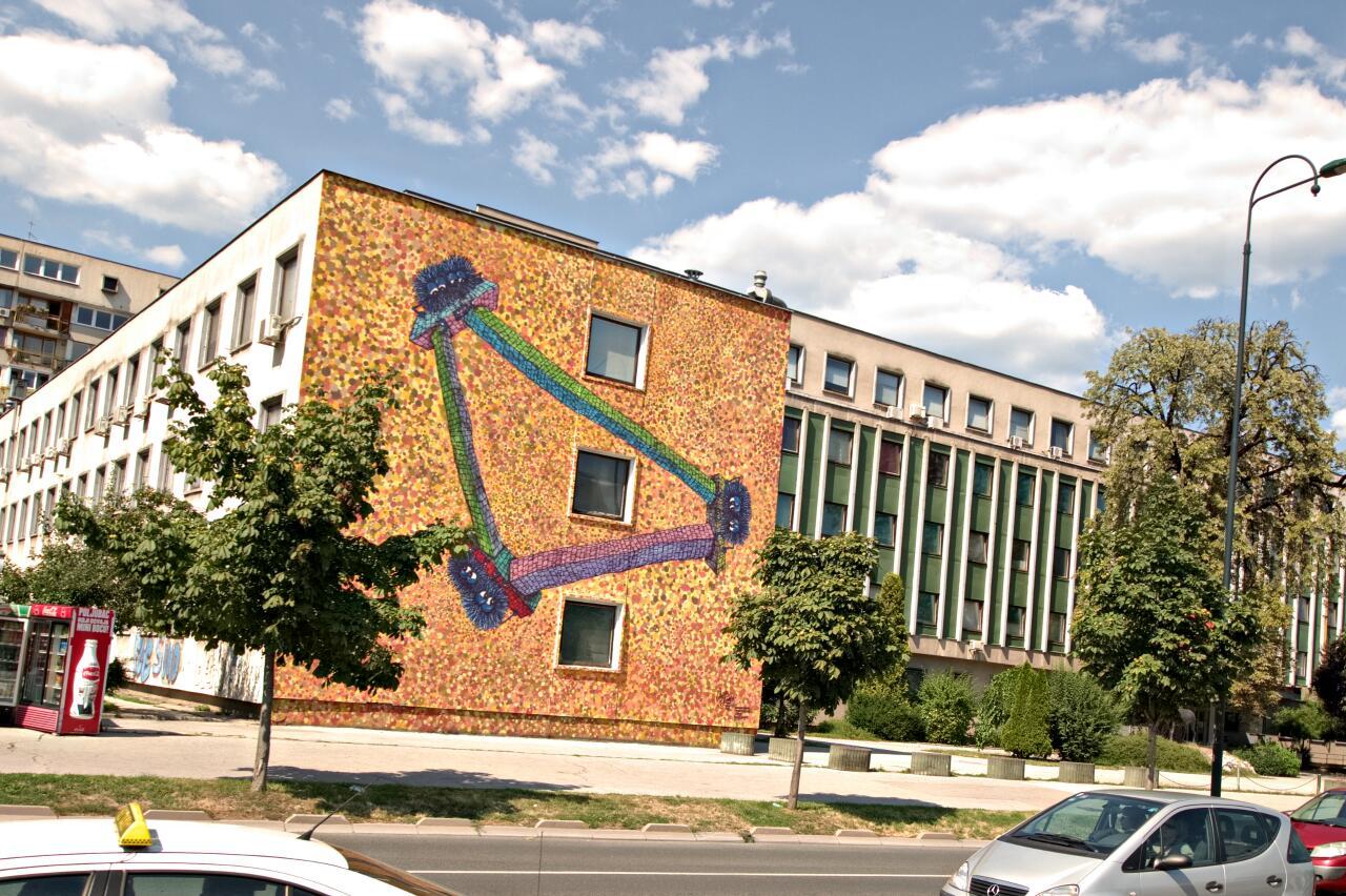 Sarajevo Streetart, huge mural by Boston.