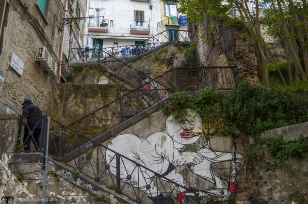 Naples is built on hills so stairs and steep little alleyways are ubiqitous, especially in the residential areas on the edge of the old-town. I was surprised about the amount of exciting street art we found everywhere in the city.
