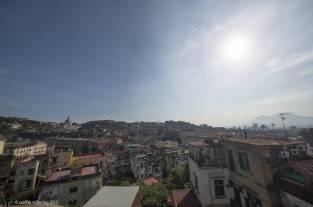 Daytime view over Naples, mount vesuvio in the background.