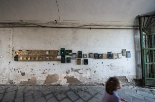 """Collection of postboxes in """"our"""" house in Naples."""