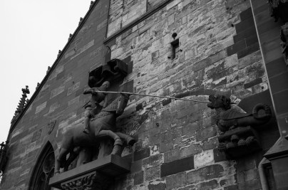 Detail on Basel cathedral; George slaying a really small dragon.