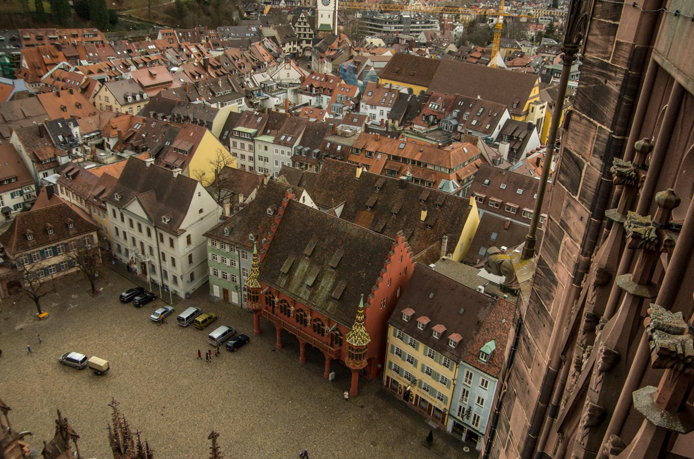 View from the top of Freiburg cathedral, the red building is an ancient department store