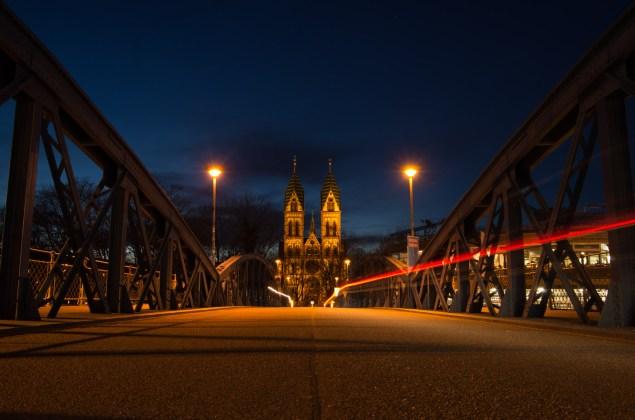 Blue Bridge and Herz-Jesu-Church in Freiburg friday night.