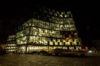 Freiburg university library at night.