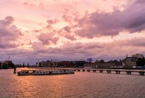 River Spree and Berlin's TV Tower under a dramatic sky