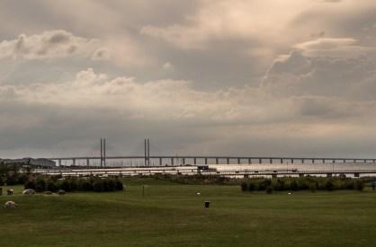 A leaden sky covers the Oresund bridge connectin, Sweden and Denmark via the Baltic Sea