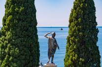 Statue by the sea in the park of Castello di Miramare, Trieste