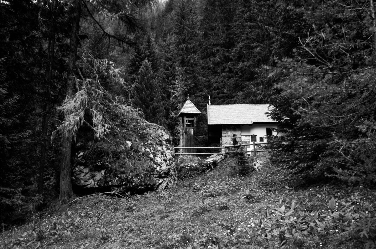 monochrome shot of a small chapel in the woods