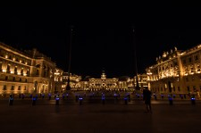 Nighttime view of the the central plaza in Trieste