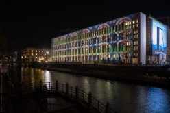 The back facade of the newly reconstructed city palace in Berlin for Festival of Lights 2017
