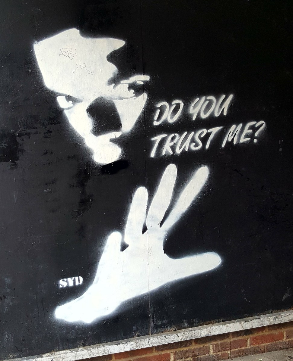 Street Art in London, black and white stencil by SYD found in the Eastend