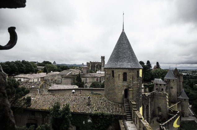 Rooftops Cité Carcassonne with the cathedral in the background