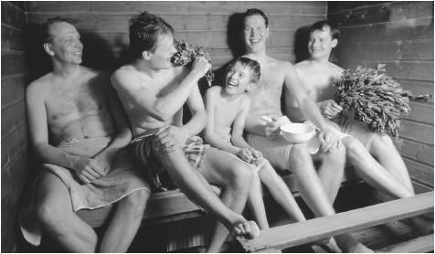 The sauna was VERY warm, and… very small.
