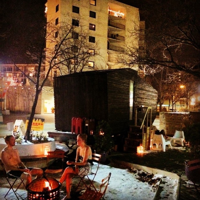 public enjoying the Little Box Sauna