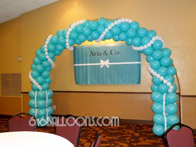 Tiffany arch & pearls balloon sculpture by 616Balloons.com Grand Rapids, Mi. Premium balloon art & decor. Corporate events, private parties..