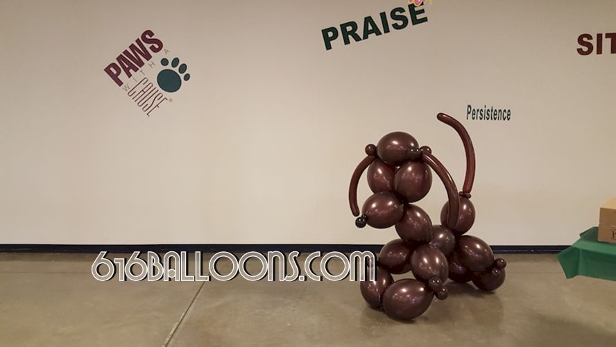 Giant balloon poodle for Paws with a Cause volunteer appreciation event sculpture by 616Balloons.com Grand Rapids, Mi. Premium balloon art & decor. Corporate events, private parties..