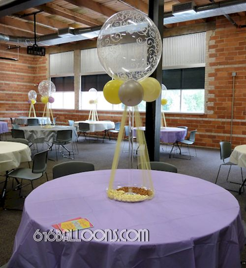 Elegant centerpiece with balloons and tulle for baby shower by 616Balloons.com Grand Rapids, Michigan. Specializing in high end balloon art & decor for the best corporate or private parties and events in West Michigan.