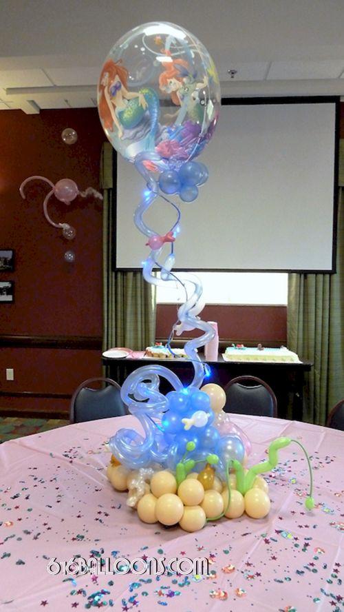 Little Mermaid Themed Baby Shower Balloon Centerpiece By 616Balloons.com  Grand Rapids, Michigan.