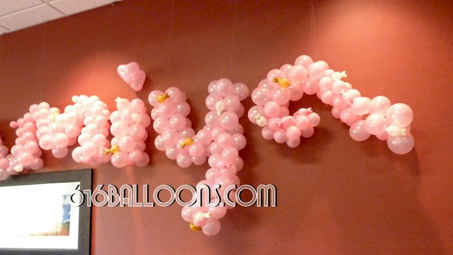 Name in balloons by 616Balloons.com Grand Rapids, Michigan. Specializing in high end balloon art & decor for the best corporate or private parties and events in West Michigan.