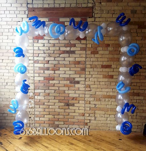 Photo frame arch balloon sculpture by 616Balloons.com Grand Rapids, Mi. Premium balloon art & decor. Corporate events, private parties..