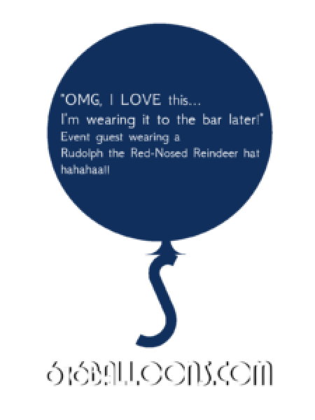 "Event guest testimonial ""OMG, I LOVE this! I'm wearing it to the bar later!"" 616 Balloons"
