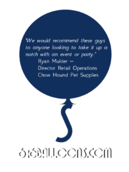 "Ryan testimonial ""We would recommend these guys to anyone looking to take it up a notch with an event or party."" 616 Balloons"