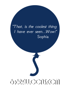 "Sophia testimonial ""That, is the coolest thing I have ever seen...Wow!"" 616 balloons"