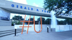 616 Art's #U sculpture titled Search and Find You at the Gerald R Ford Presidential Library and Museum during ArtPrize 2014. It is currently on Main St. in Chelsea, Mi for the Chelsea Sculpture Walk