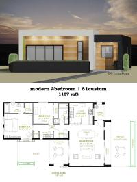 Modern 2 Bedroom House Plan | 61custom | Contemporary ...