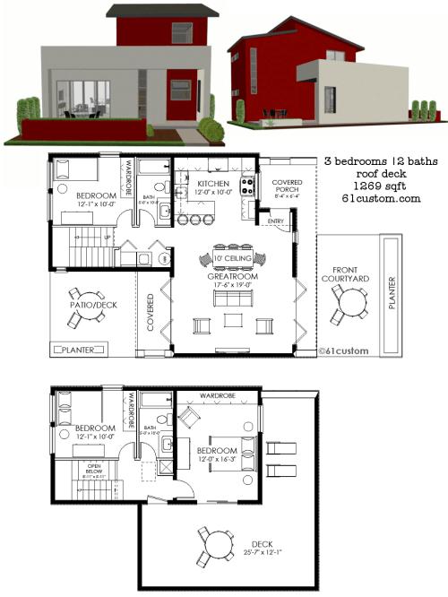 small resolution of small modern house plan 1269 61custom