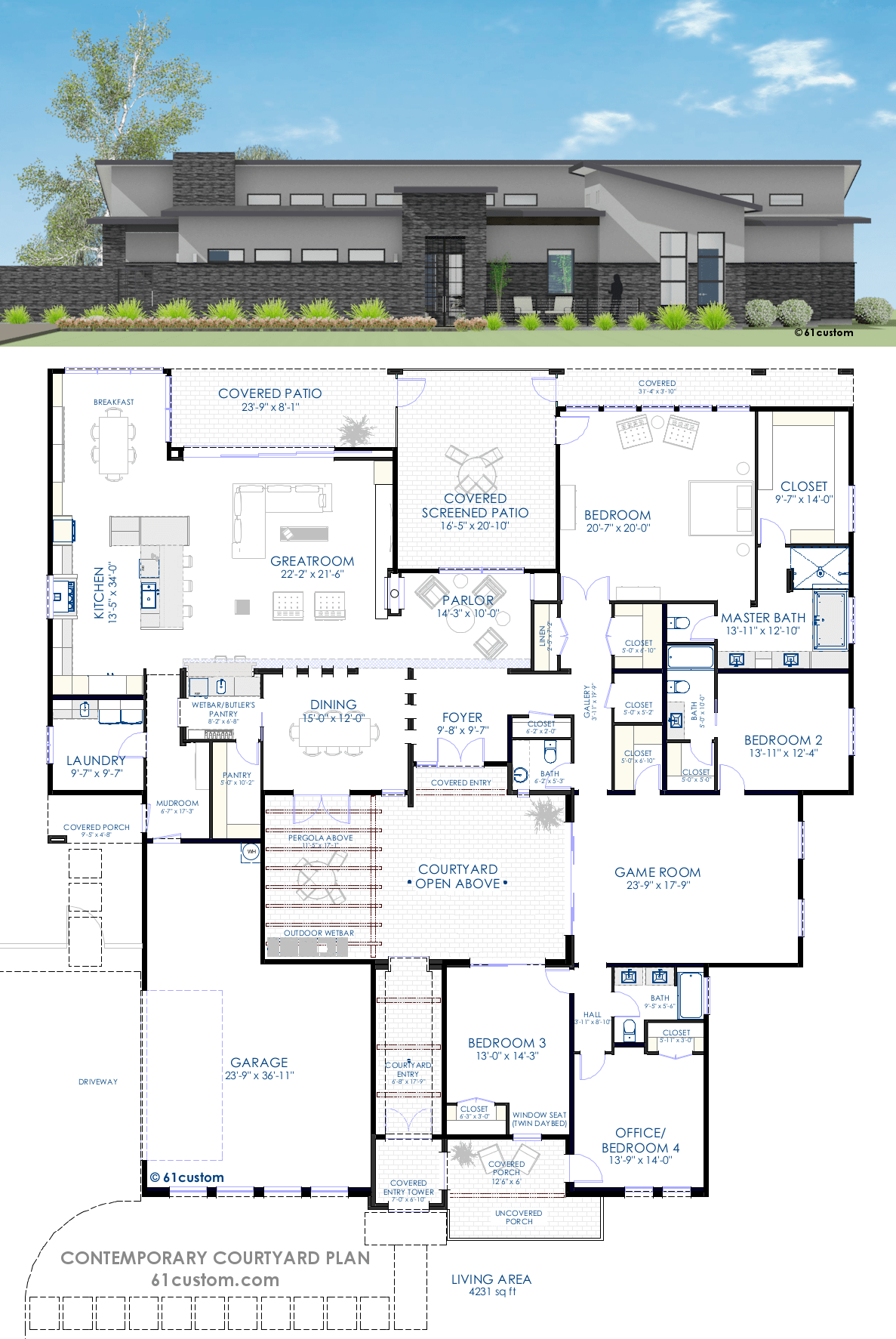 Contemporary Courtyard House Plan