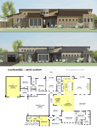 Contemporary Side Courtyard House Plan | 61custom ...