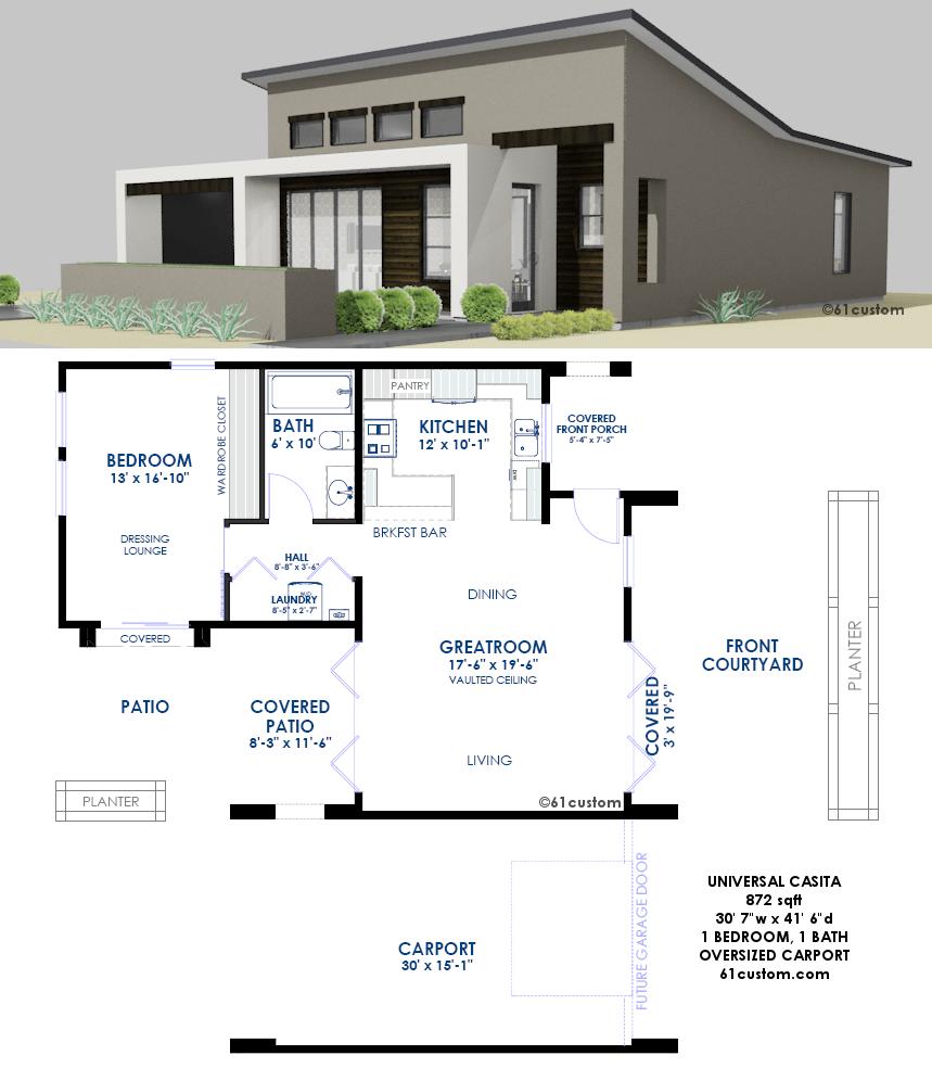 Universal Casita House Plan 61custom Contemporary & Modern