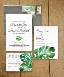 monstera, destination wedding, urban loft, south beach, miami, beach, green and white, simple, modern, leaves, palm, cute wedding invitation, island wedding, brush lettering, vintage stamps, wedding, wedding invitation, wedding invite, invitation, invite, watercolor, handpainted, floral, flowers, calligraphy, modern, simple, affordable, affordable wedding invitation, romantic, romantic wedding invitation, invitation suite, flat lay, invitation styling, paper flowers