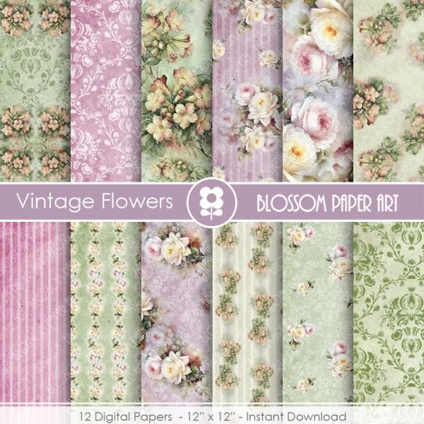 Floral Digital Papers Roses Scrapbook Paper Pack