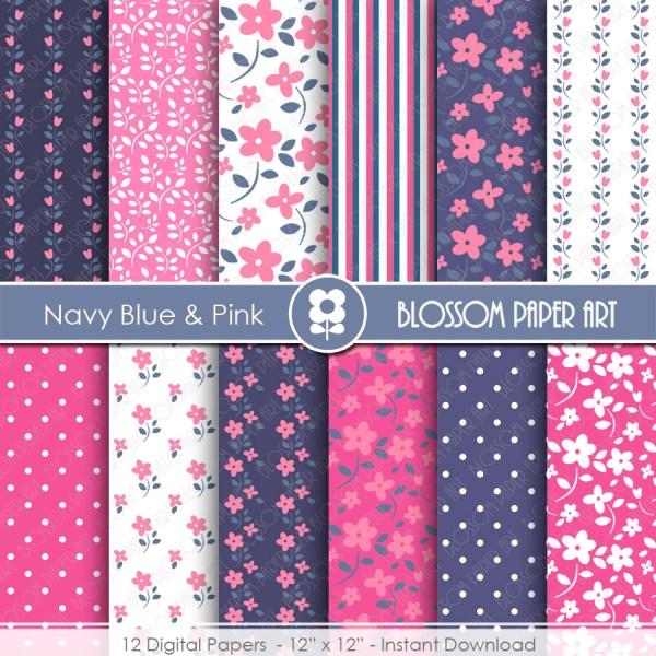 Blue Navy Digital Paper Pink Papers Floral