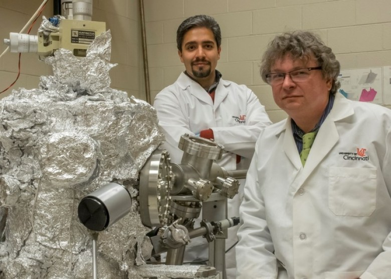 Dr. Hans-Peter Wagner, right, and his doctoral student Masoud Kaveh-Baghbadorani in the organic molecular beam deposition (OMBD) laboratory, Department of Physics, University of Cincinnati. Jay Yocis University of Cincinnati, CC BY-ND