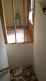 Drywall removal at stairs