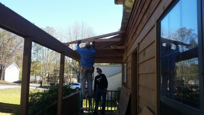 Porch rafters almost gone